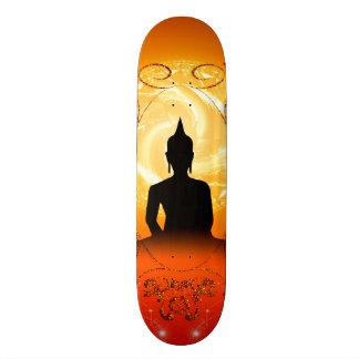 Buddha on mysical background skate board