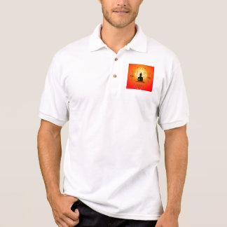 Buddha on mysical background polo t-shirt