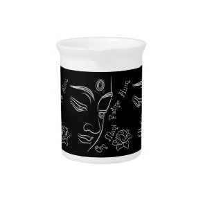 Buddha pondering lotus flower White Drink Pitcher