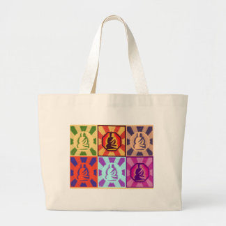 Buddha -- Pop Art Style Large Tote Bag