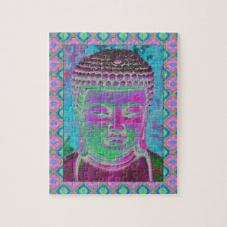 Buddha Pop in Magenta and Turquoise Jigsaw Puzzle