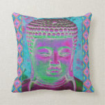 Buddha Pop in Magenta and Turquoise Pillow