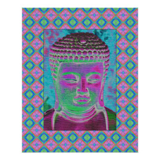 Buddha Pop in Magenta and Turquoise Poster