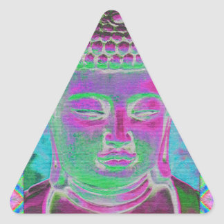 Buddha Pop in Magenta and Turquoise Triangle Sticker
