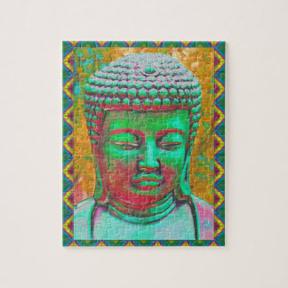 Buddha Pop in Teal Green and Red Jigsaw Puzzle