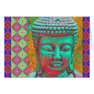 Buddha Pop with Patchwork Borders in Blue and Pink Card