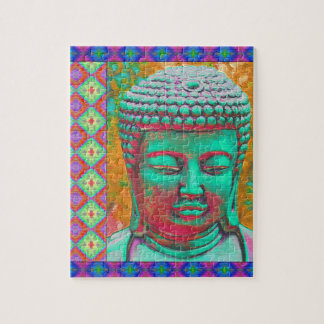 Buddha Pop with Patchwork Borders in Blue and Pink Jigsaw Puzzle