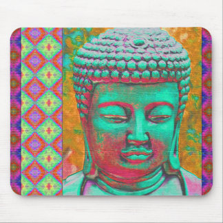 Buddha Pop with Patchwork Borders in Blue and Pink Mouse Pad