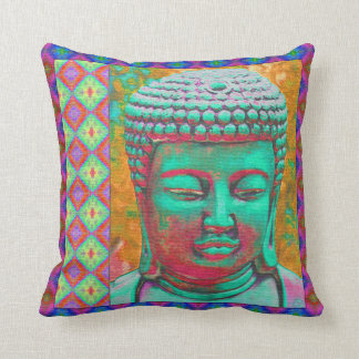 Buddha Pop with Patchwork Borders in Blue and Pink Pillow
