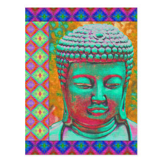 Buddha Pop with Patchwork Borders in Blue and Pink Postcard