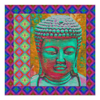 Buddha Pop with Patchwork Borders in Blue and Pink Poster
