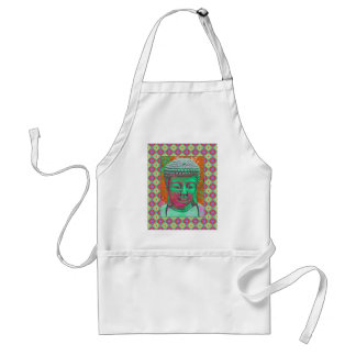 Buddha Pop with Patchwork Borders in Green and Red Adult Apron