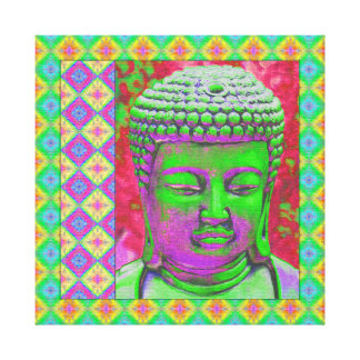 Buddha Pop with Patchwork Borders in Green and Red Canvas Print