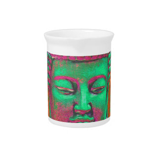 Buddha Pop with Patchwork Borders in Green and Red Drink Pitcher