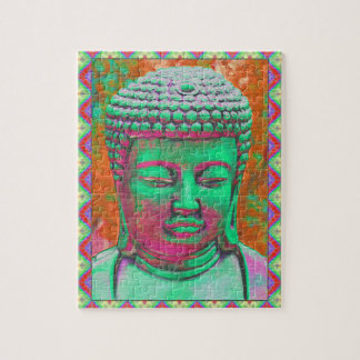 Buddha Pop with Patchwork Borders in Green and Red Jigsaw Puzzle