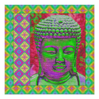 Buddha Pop with Patchwork Borders in Green and Red Poster