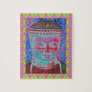 Buddha Pop with Yellow and Pink Borders Jigsaw Puzzle