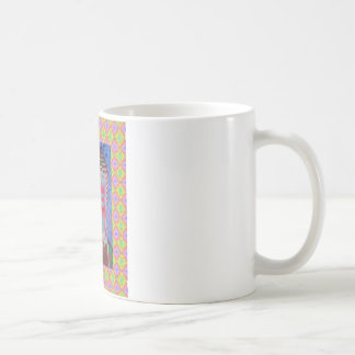 Buddha Pop with Yellow and Pink Borders Classic White Coffee Mug