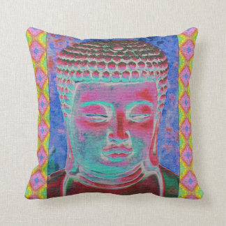Buddha Pop with Yellow and Pink Borders Pillow