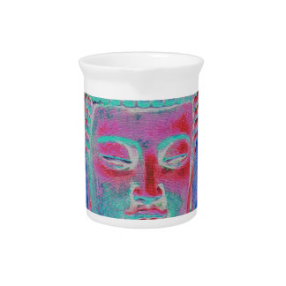 Buddha Pop with Yellow and Pink Borders Pitcher
