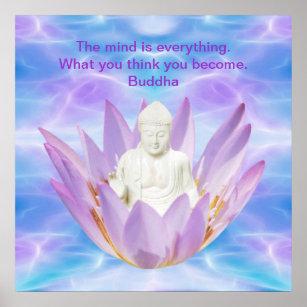 Purple lotus flower posters photo prints zazzle buddha purple lotus flower poster mightylinksfo