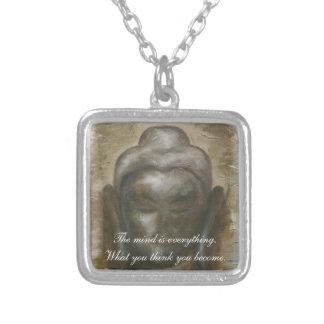 Buddha quotation on painted buddha background square pendant necklace
