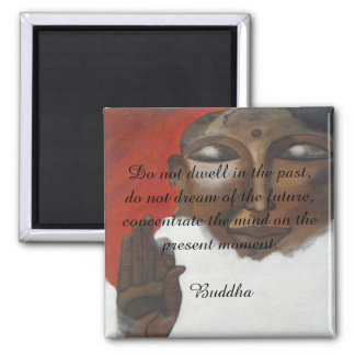 Buddha quotation on painted budha 2 inch square magnet