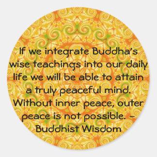 Buddha quote inspirational yoga meditation art classic round sticker