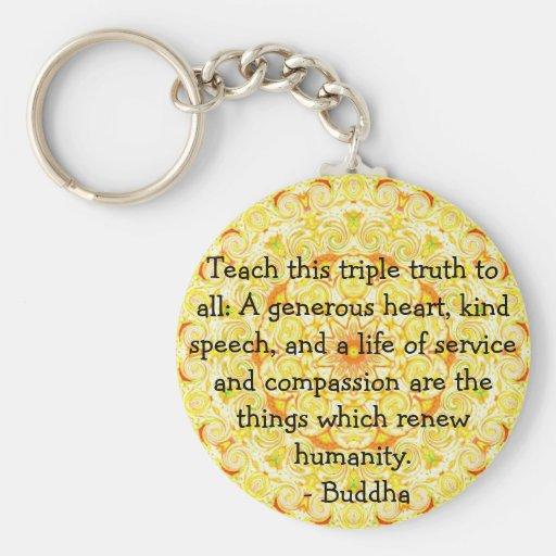 Buddha quote inspirational yoga meditation art keychain