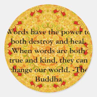 Buddha quote inspire motivational classic round sticker