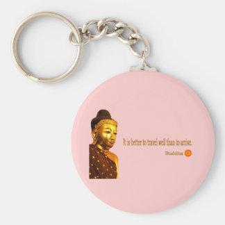 """Buddha Quote: """"It is better to travel well than to Basic Round Button Keychain"""