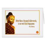 Buddha Quote ~ One Word That Brings Peace Stationery Note Card