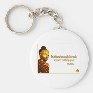 Buddha Quote ~ One Word That Brings Peace Basic Round Button Keychain