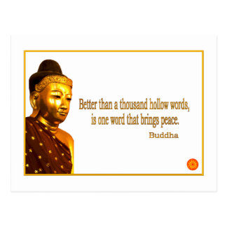 Buddha Quote ~ One Word That Brings Peace Postcards