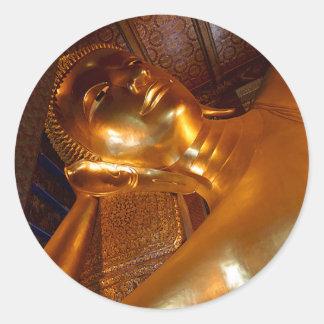 Buddha Reclining ~ Buddhist Temple Photo Classic Round Sticker