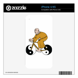 Buddha Riding A Bike With Yin Yang Wheels Decal For The iPhone 4S