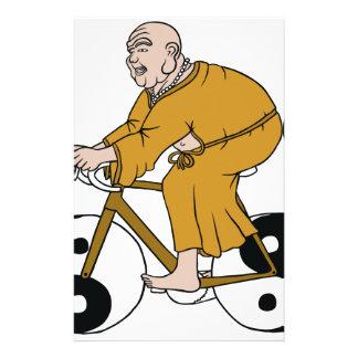 Buddha Riding A Bike With Yin Yang Wheels Stationery