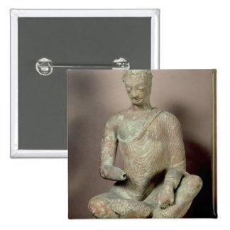 Buddha seated in meditation, from Fondukistan Button