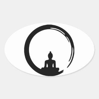 Buddha silent oval sticker