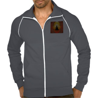 Buddha silhouette with glowing light track jackets