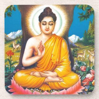 buddha sitting under the tree of inspiration coaster