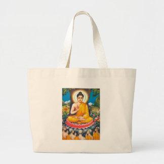 buddha sitting under the tree of inspiration large tote bag