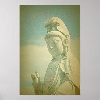 Buddha Statue Antiqued Print