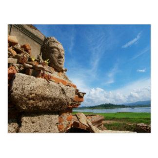 Buddha statue Head Post Card