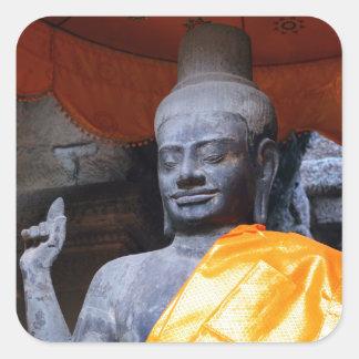 Buddha statue in Angkor Wat temple, Siem Reap Square Sticker