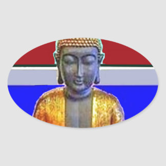 Buddha Statue in Gold by Sharles Oval Sticker