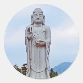 Buddha statue in South Korea, Asia Round Stickers