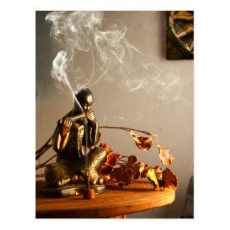Buddha Statue Prayer Room Incense Postcard