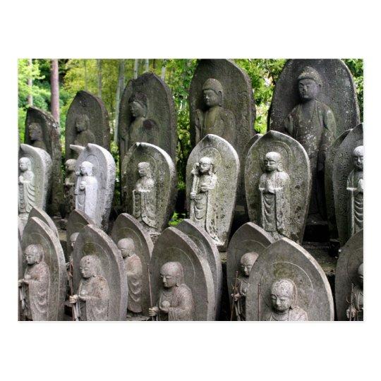 buddha stone statues postcard