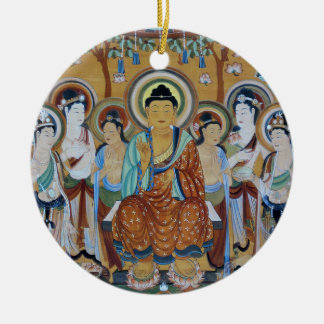 Buddha surrounded by bodhisattvas Double-Sided ceramic round christmas ornament